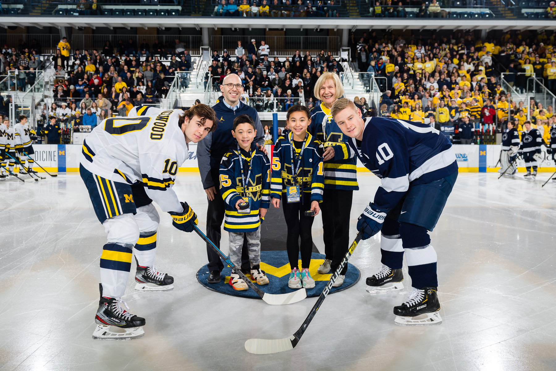 ceremonial puck drop U-M Hockey ALS Awareness Game vs Penn State