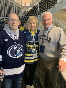 Dr. Zachary Simmons, Dr. Eva Felman and Dr. James Albers at the 2019 U-M Hockey ALS Awareness Game